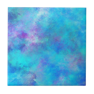 Icy Blue Abstract Design Ceramic Tile