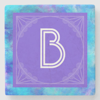 Icy Blue Abstract Design with Monogram Stone Coaster