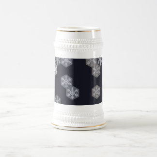 Icy Blue And Gray Winter Snowflake Hexagons Beer Stein