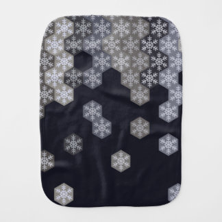 Icy Blue And Gray Winter Snowflake Hexagons Burp Cloth