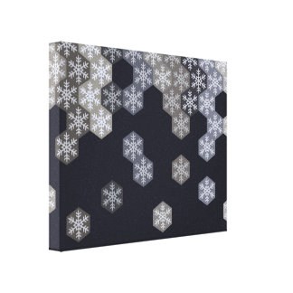 Icy Blue And Gray Winter Snowflake Hexagons Canvas Print