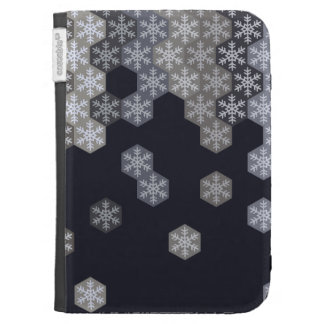 Icy Blue And Gray Winter Snowflake Hexagons Case For Kindle