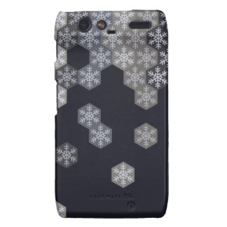 Icy Blue And Gray Winter Snowflake Hexagons Droid RAZR Case