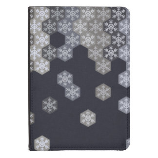 Icy Blue And Gray Winter Snowflake Hexagons Kindle 4 Case