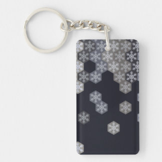 Icy Blue And Gray Winter Snowflake Hexagons Double-Sided Rectangular Acrylic Keychain