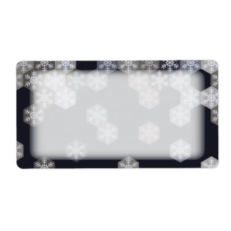 Icy Blue And Gray Winter Snowflake Hexagons Label