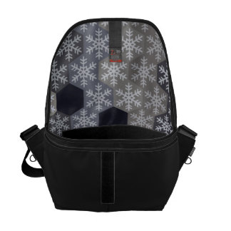 Icy Blue And Gray Winter Snowflake Hexagons Messenger Bag
