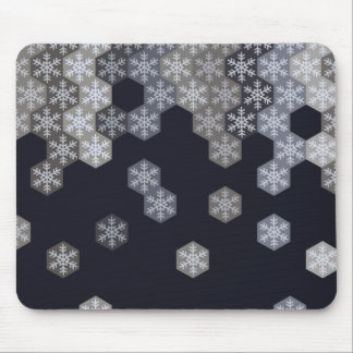 Icy Blue And Gray Winter Snowflake Hexagons Mouse Pad