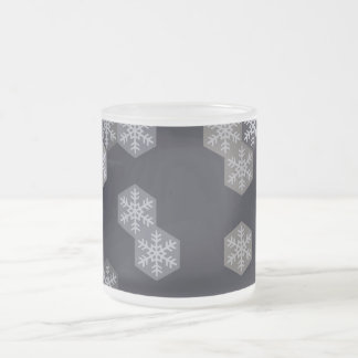 Icy Blue And Gray Winter Snowflake Hexagons 10 Oz Frosted Glass Coffee Mug