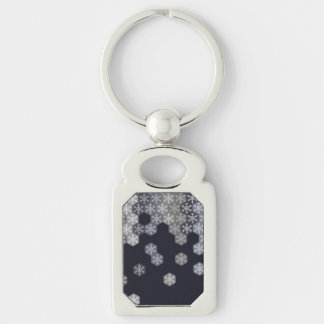 Icy Blue And Gray Winter Snowflake Hexagons Silver-Colored Rectangular Metal Keychain