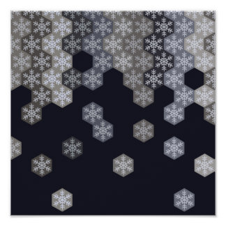 Icy Blue And Gray Winter Snowflake Hexagons Poster