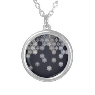 Icy Blue And Gray Winter Snowflake Hexagons Round Pendant Necklace