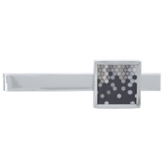 Icy Blue And Gray Winter Snowflake Hexagons Silver Finish Tie Bar