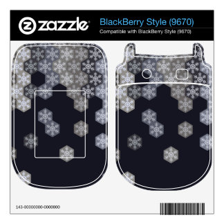 Icy Blue And Gray Winter Snowflake Hexagons BlackBerry Style Decals