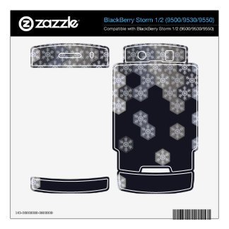 Icy Blue And Gray Winter Snowflake Hexagons BlackBerry Decal