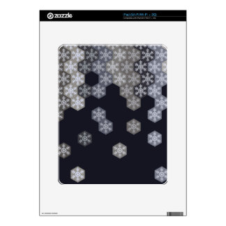Icy Blue And Gray Winter Snowflake Hexagons iPad Decals