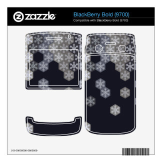 Icy Blue And Gray Winter Snowflake Hexagons BlackBerry Bold Skins