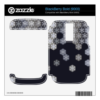 Icy Blue And Gray Winter Snowflake Hexagons BlackBerry Bold Decals