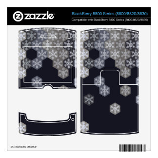 Icy Blue And Gray Winter Snowflake Hexagons Skins For BlackBerry 8830