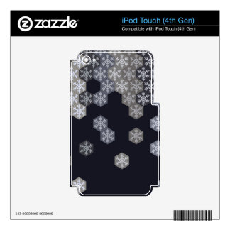 Icy Blue And Gray Winter Snowflake Hexagons iPod Touch 4G Skins