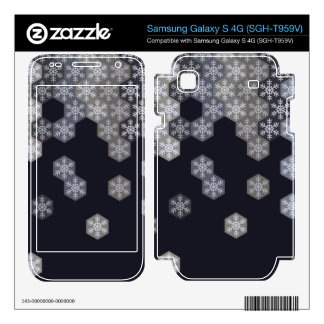 Icy Blue And Gray Winter Snowflake Hexagons Samsung Galaxy S 4G Skins