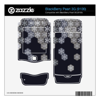 Icy Blue And Gray Winter Snowflake Hexagons BlackBerry Skin