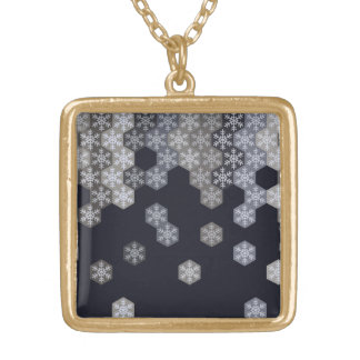 Icy Blue And Gray Winter Snowflake Hexagons Square Pendant Necklace