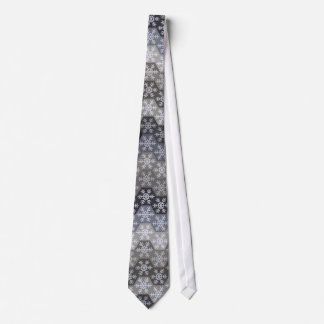 Icy Blue And Gray Winter Snowflake Hexagons Tie