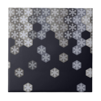 Icy Blue And Gray Winter Snowflake Hexagons Tile