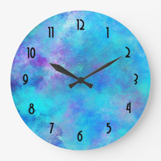 Icy Blue and Purple Watercolor Abstract Design Wallclock