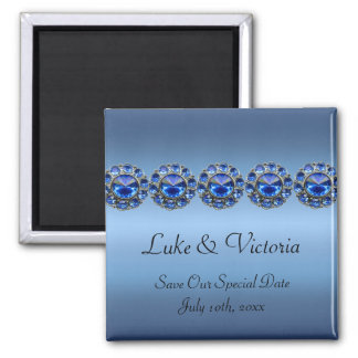 Icy Blue Bejeweled Wedding 2 Inch Square Magnet