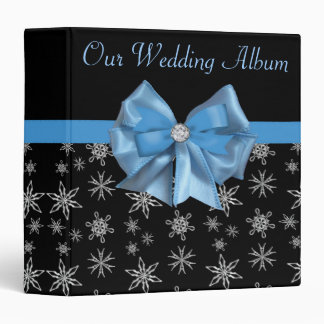 Icy Blue Bow On Black Winter Snowflakes Wedding 3 Ring Binders