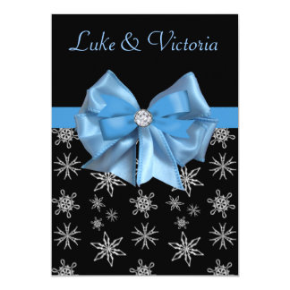 Icy Blue Bow On Black Winter Snowflakes Wedding Card