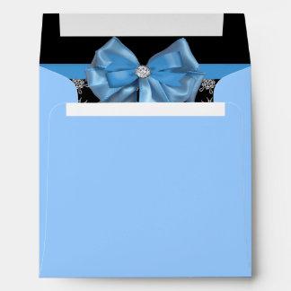 Icy Blue Bow On Black Winter Snowflakes Wedding Envelope