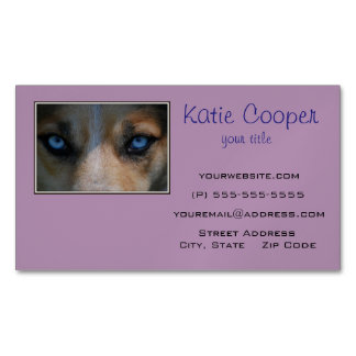 Icy Blue Canine Eyes Magnetic Business Card