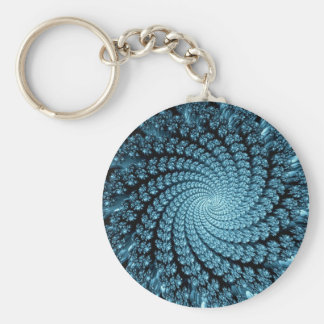 Icy Blue Chasm Fractal Keychain