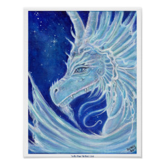 Icy Blue Dragon poster print by Renee Lavoie