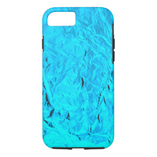 Icy Blue Faux Metal Crumpled Foil Design iPhone 7 Case