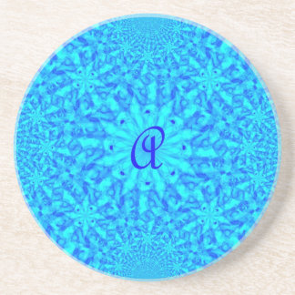 Icy Blue Fractal Monogram A Beverage Coasters