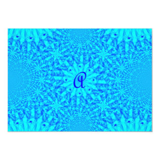 Icy Blue Fractal Monogram A Card