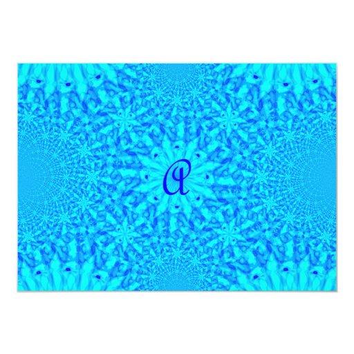 Icy Blue Fractal Monogram A 5x7 Paper Invitation Card
