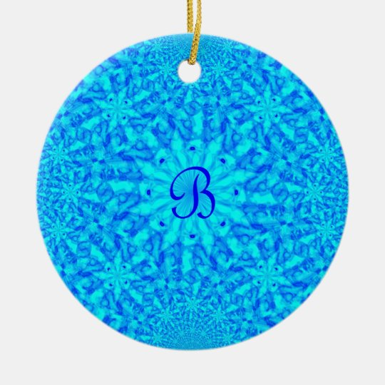 Icy Blue Fractal Monogram B Ceramic Ornament