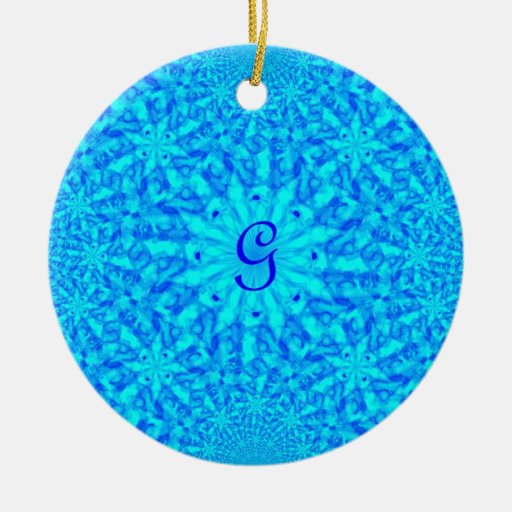 Icy Blue Fractal Monogram G Double-Sided Ceramic Round Christmas Ornament