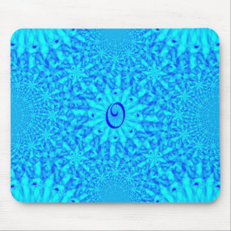 Icy Blue Fractal Monogram O Mouse Pad
