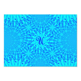 Icy Blue Fractal Monogram U Card