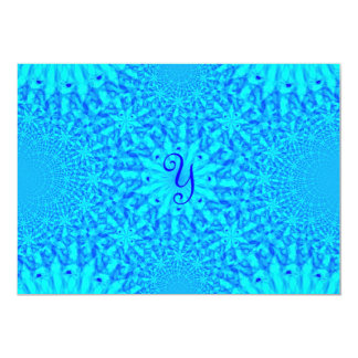 Icy Blue Fractal Monogram Y Card