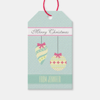 Icy Blue Graphic Polkadotted Christmas Ornaments Gift Tags