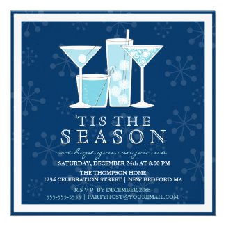 Icy Blue Holiday Snowflakes and Cocktail Party Personalized Announcements