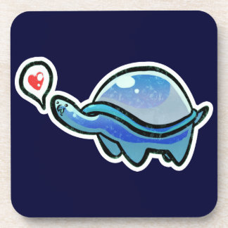 Icy Blue Love Turtle Drink Coaster