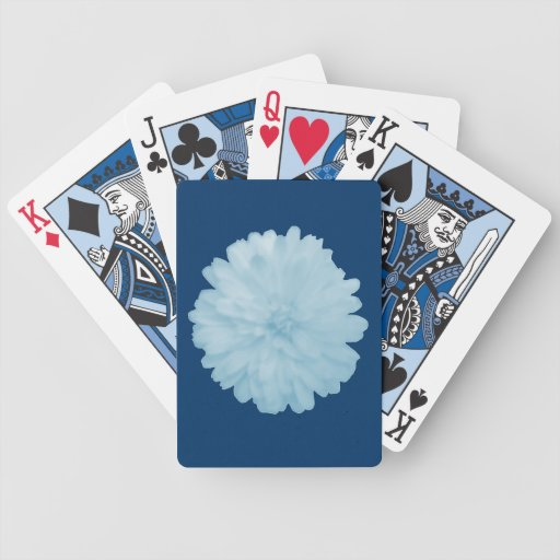 Icy Blue Marigold Playing Cards